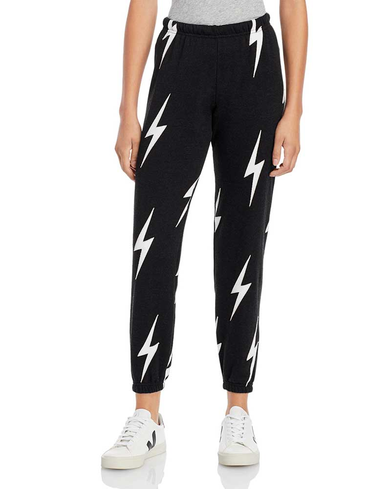 Black sweatpants with white lightning strikes