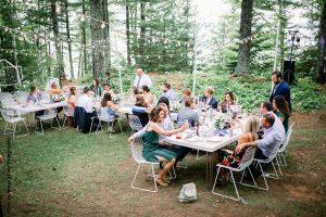 Communal wedding seating at wedding