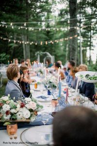 Blue and white long wedding table