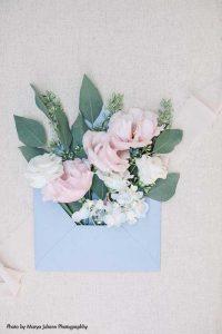 Blue wedding envelope