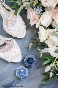 Wedding bands in blue velvet ring box