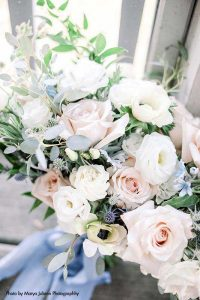 Light blue and blush wedding bouquet