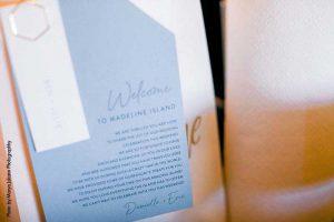 Blue wedding welcome bag sign