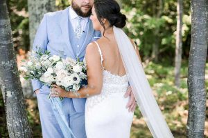 Bride and groom before outdoor wedding