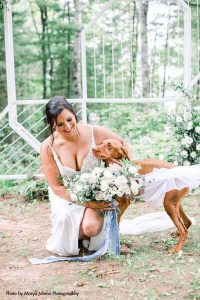 """Bride with dog as """"Maid of Honor"""""""