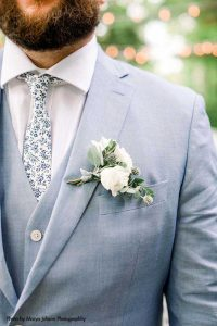 White and greenery boutonnière