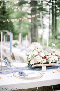 Light blue, gold, and pink modern wedding place setting