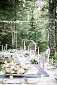 String light backyard wedding dinner
