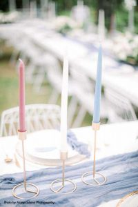 Pink, white, blue, tall wedding candles