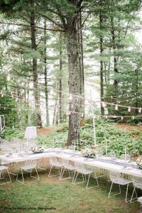 Backyard modern wedding dinner