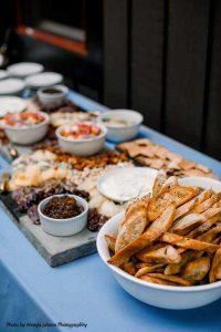 Wedding appetizer spread at intimate wedding