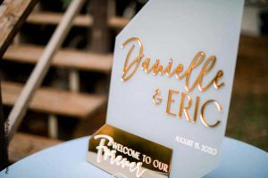 Blue and gold modern wedding welcome sign
