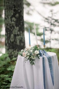Blue and white unity candle for wedding