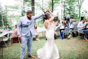 Bride and groom share first dance at intimate wedding