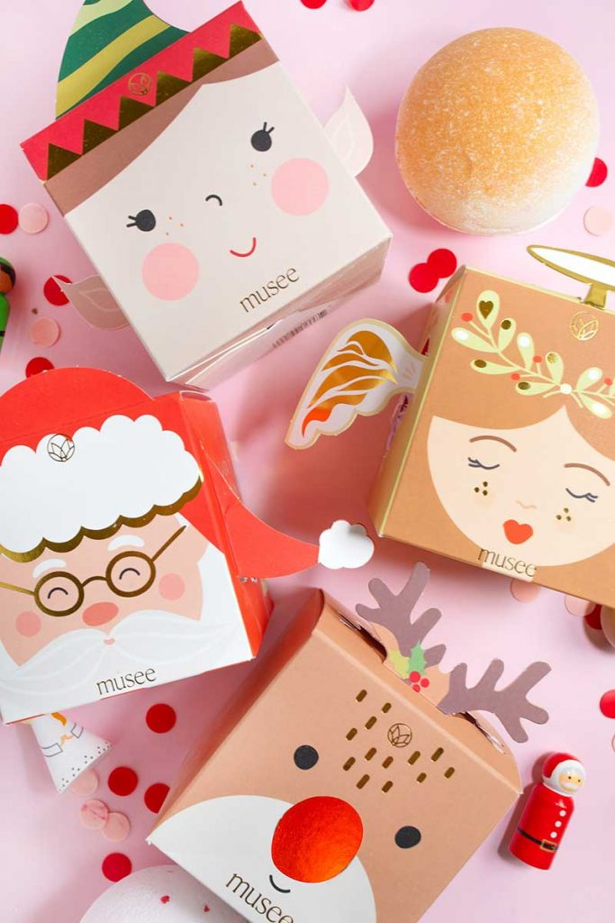 Bath bombs in holiday packaging