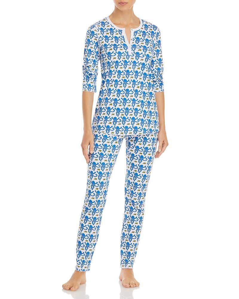 Blue and white holiday pajamas