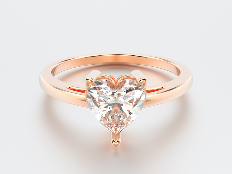 Rose gold engagement ring with heart diamond