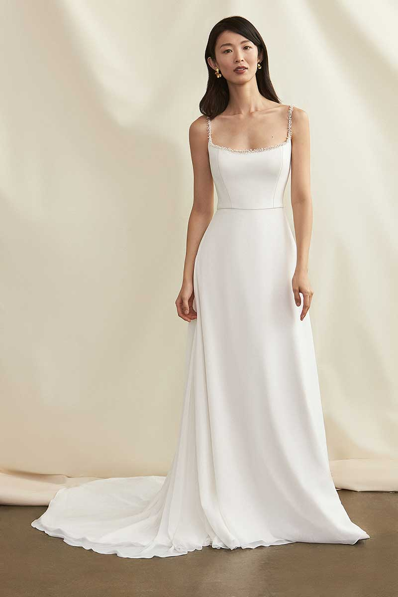 Bridal gown with beaded square neck