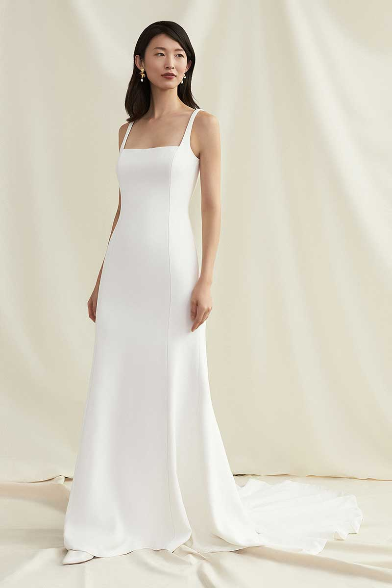 Simple square neck gown