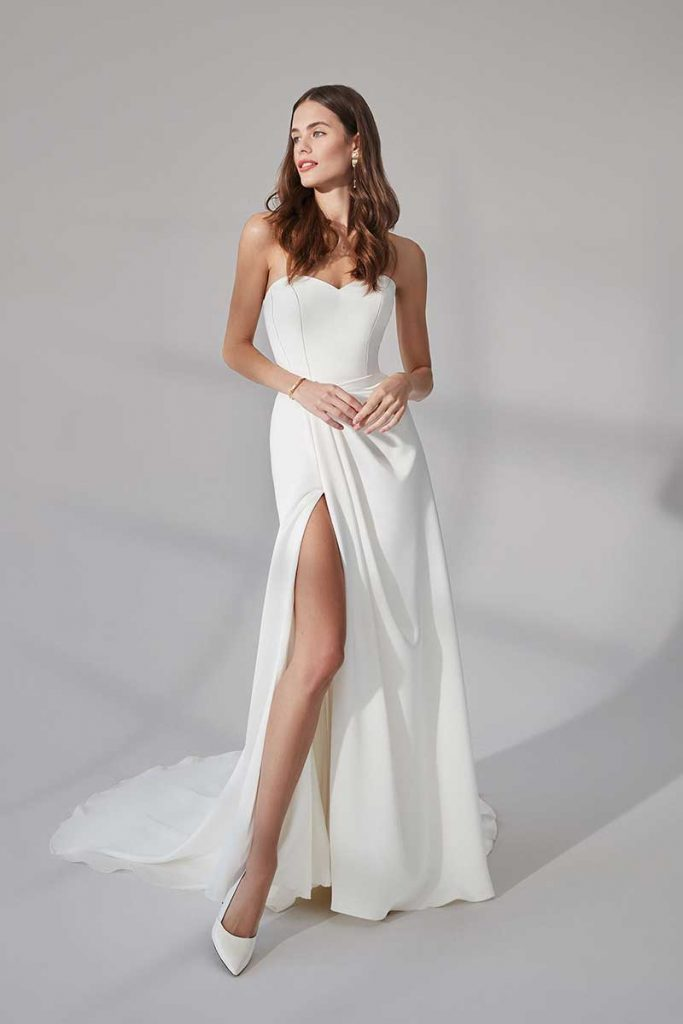 Bridal gown with sweetheart neckline and high slit