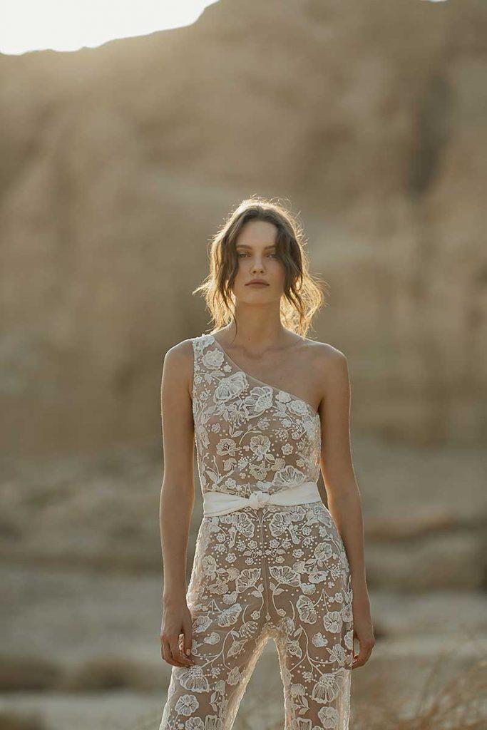 One sleeve bridal jumpsuit