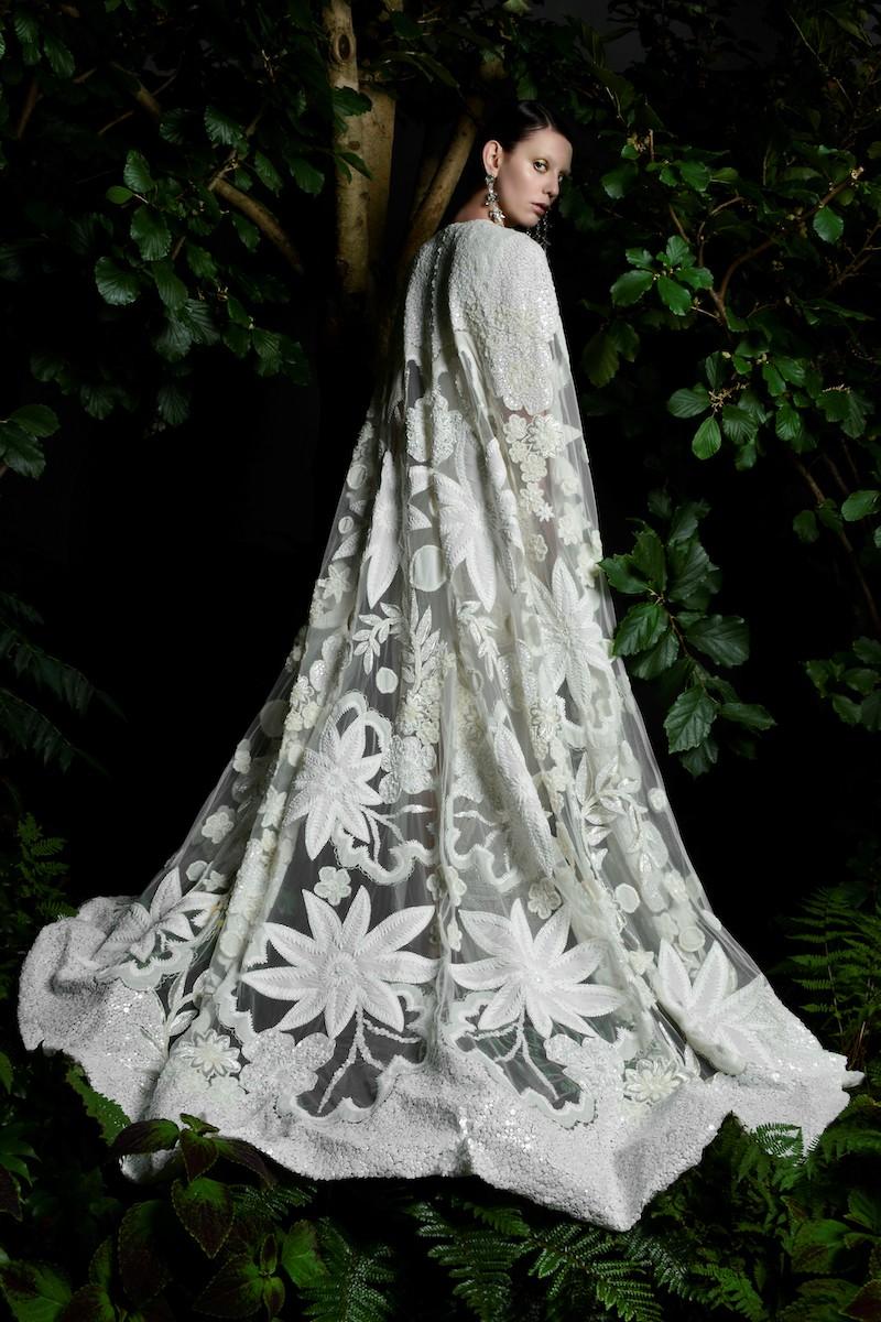 Long dramatic floral applique bridal cover up cape