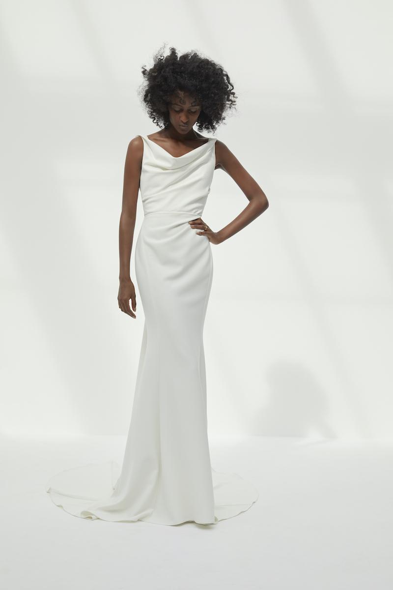 Column wedding gown with cowl neckline
