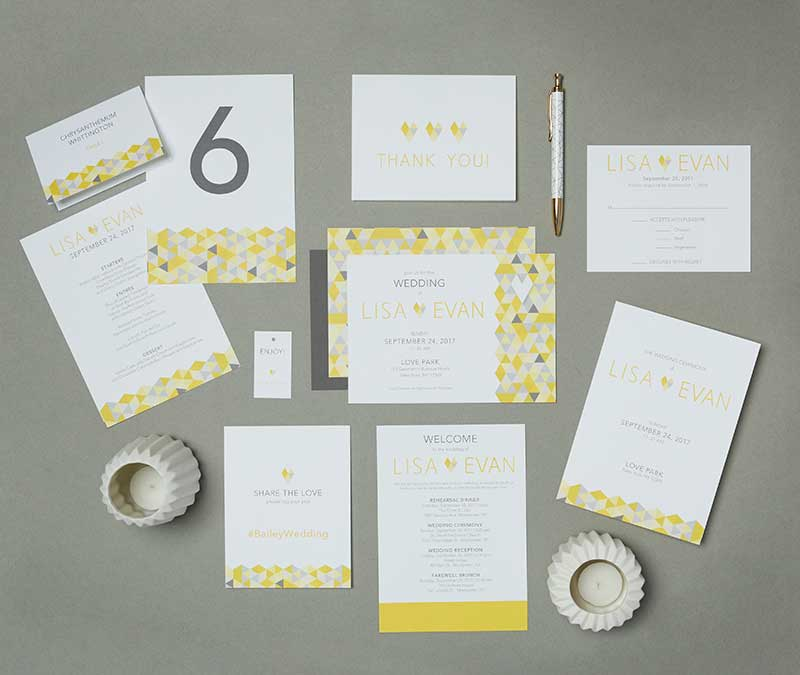 Wedding invitation suite with gray, white, and yellow color scheme