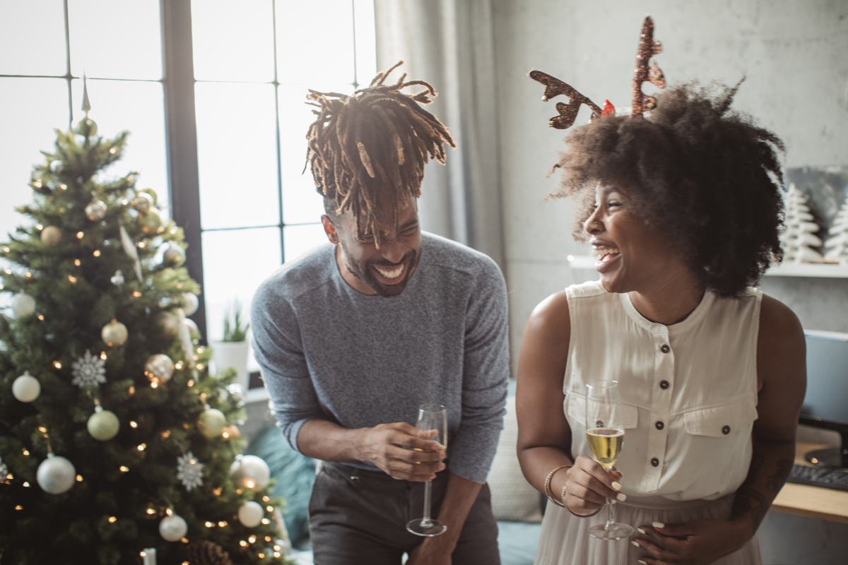 Couple at Christmas learning to create new holiday traditions