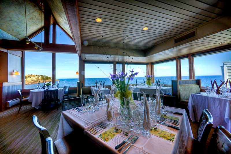 Resort restaurant at Bluefin Bay overlooks Lake Superior