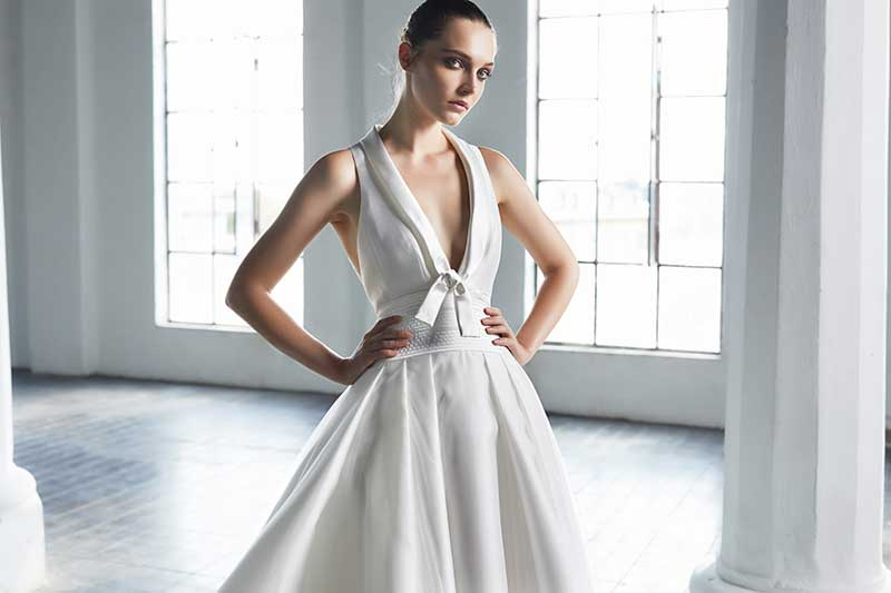 Deep v architectural gown by Peter Langer