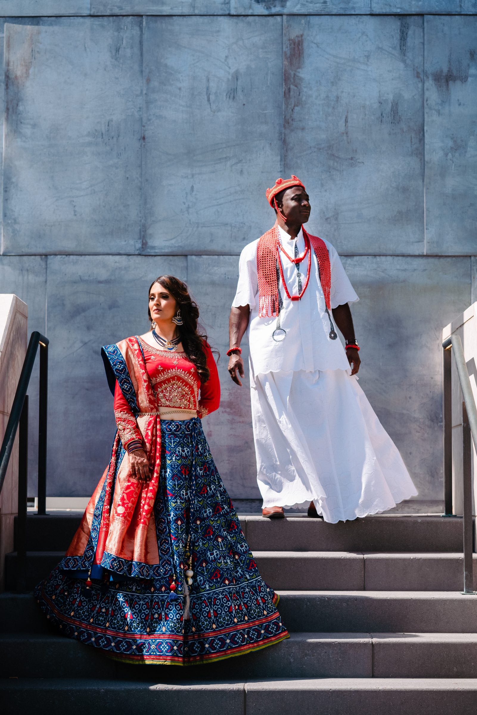 Nigerian and Indian multicultural wedding attire