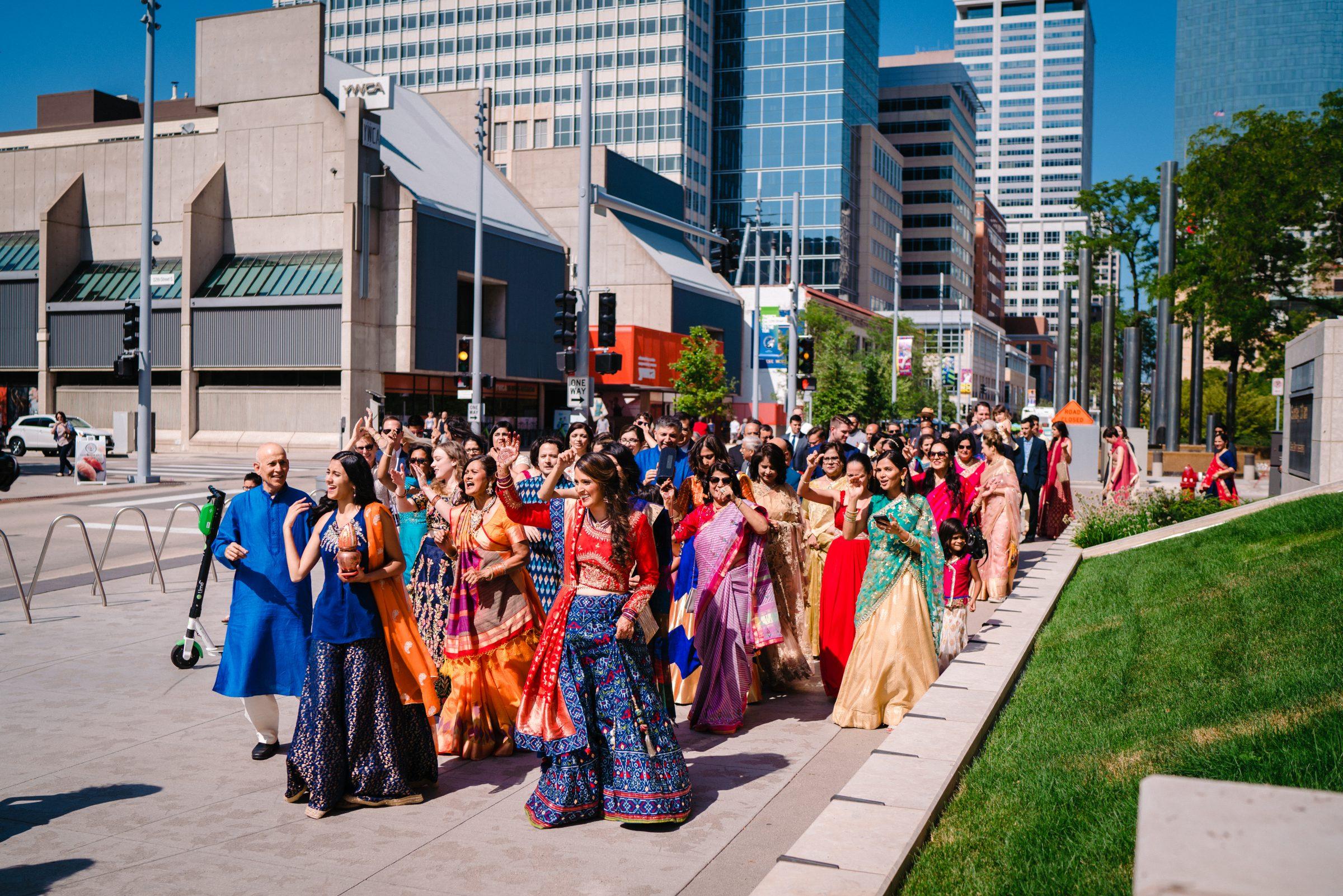 Indian wedding baraat at multicultural wedding