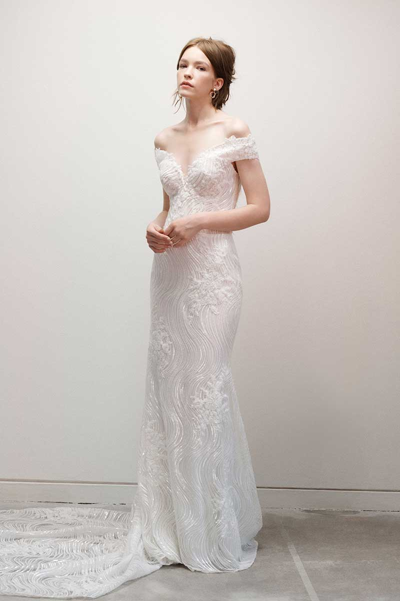 Wedding dress with off the shoulder neckline