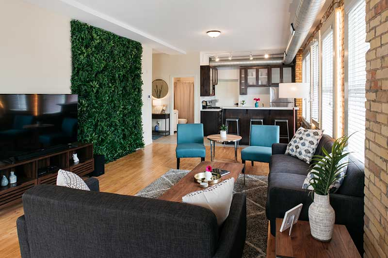 Intimate apartment wedding venue ceremony and reception setup