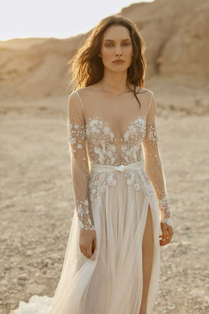 Long-sleeve wedding gown with illusion neckline