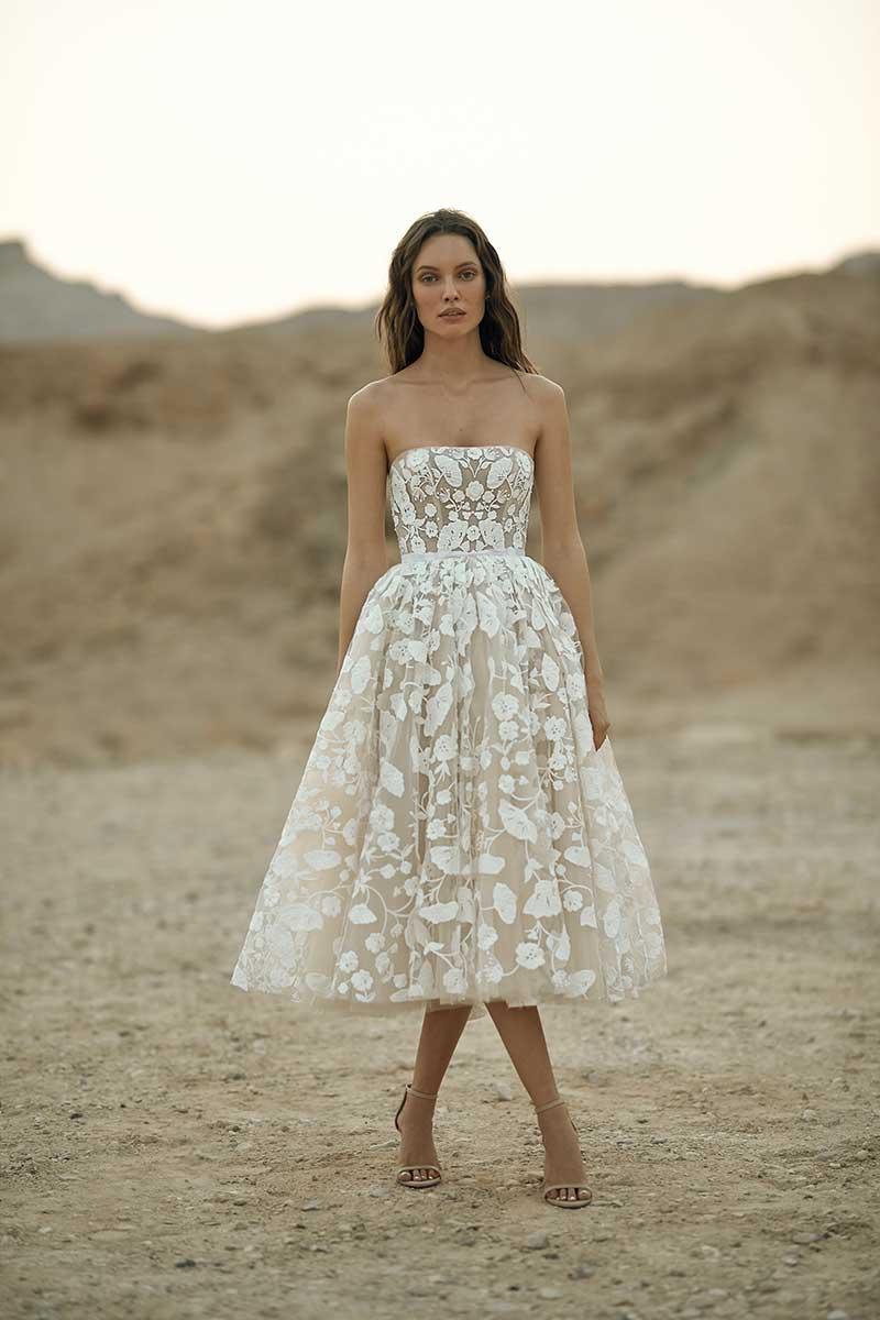 Tea length wedding dress with strapless neckline