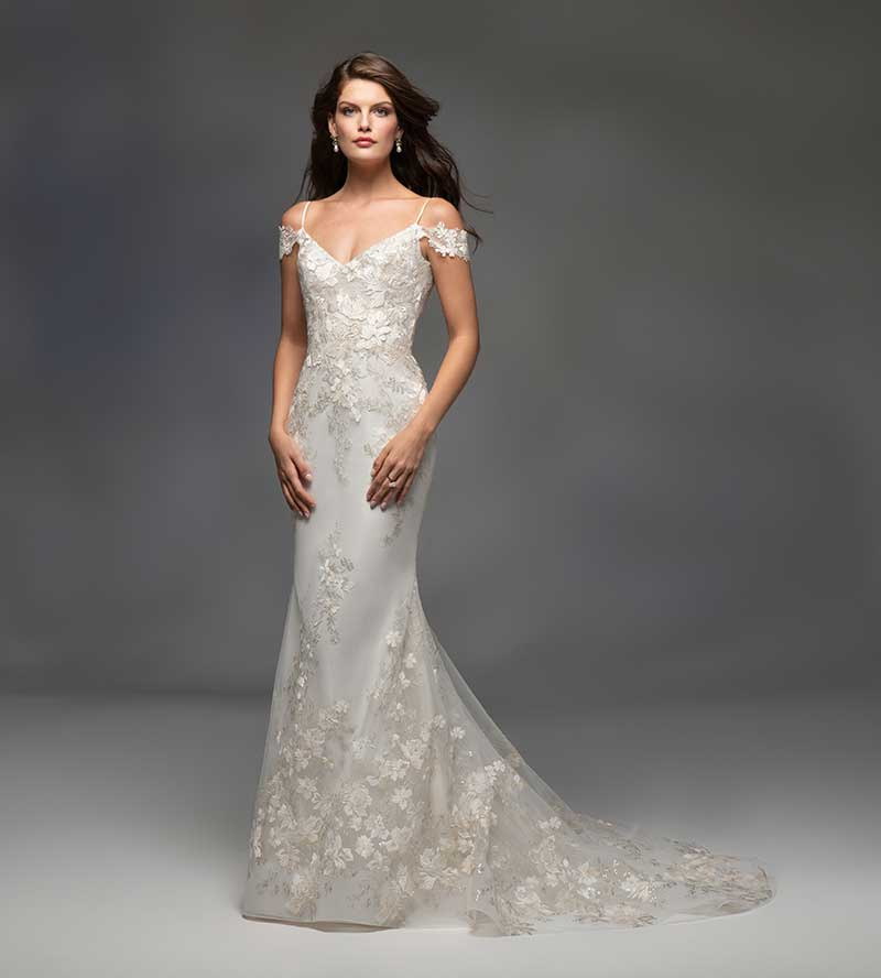 Off-the-shoulder couture wedding gown by Lazaro