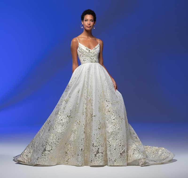 Gold sparkle ballgown by Lazaro