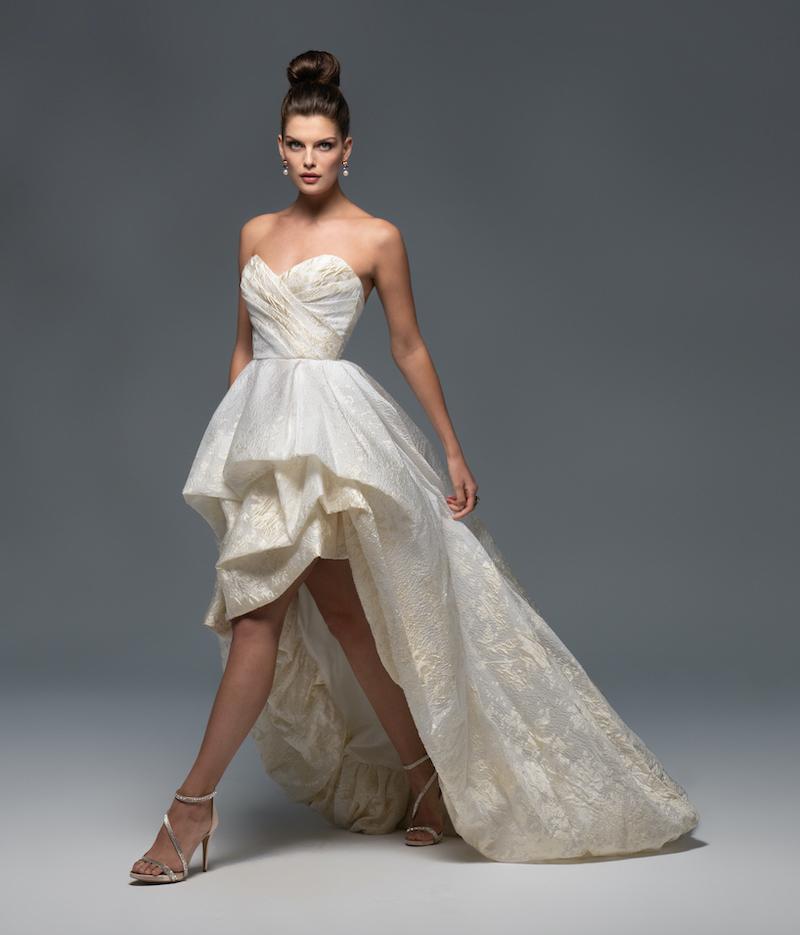High low wedding dress with sweetheart neckline
