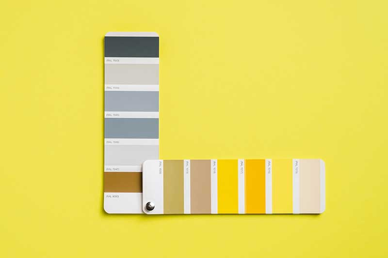 Gray and yellow color palettes
