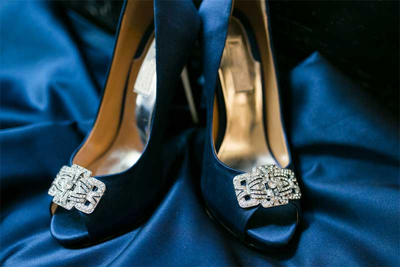 Navy blue bridal shows with diamond detail on toe