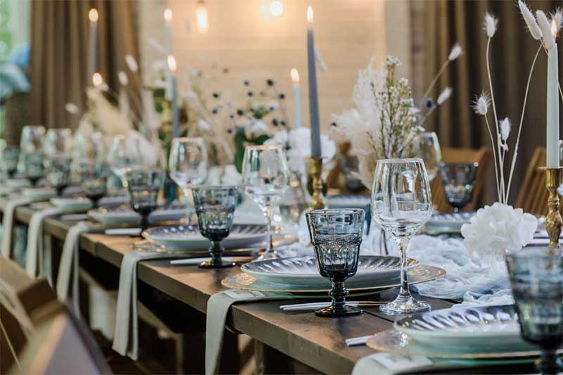Blue and gold wedding tabletop decor