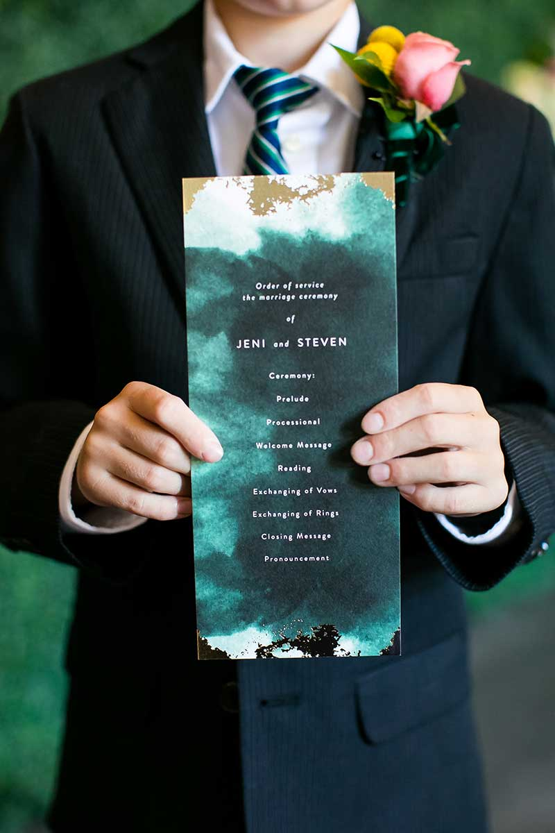 Watercolor green and gold wedding invitation