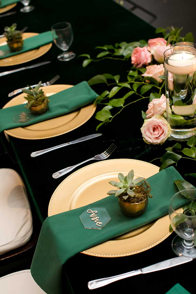 Hunter green and gold wedding tabletop winter wedding color combos