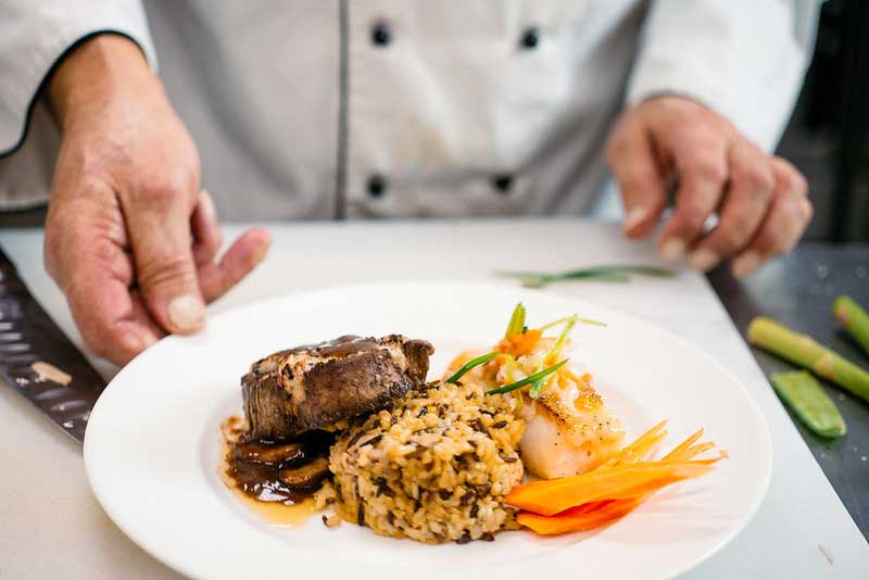 Wedding entree with steak and rice