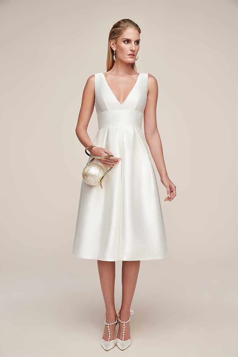 V-neck white satin midi dress for micro wedding