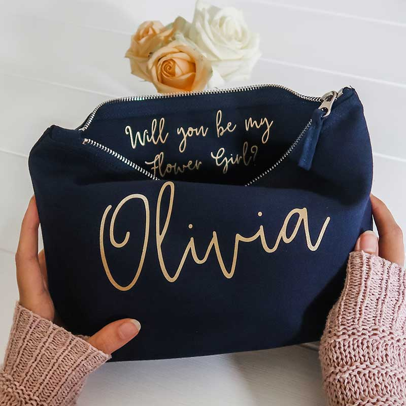 Flower girl proposal bag in navy with gold writing