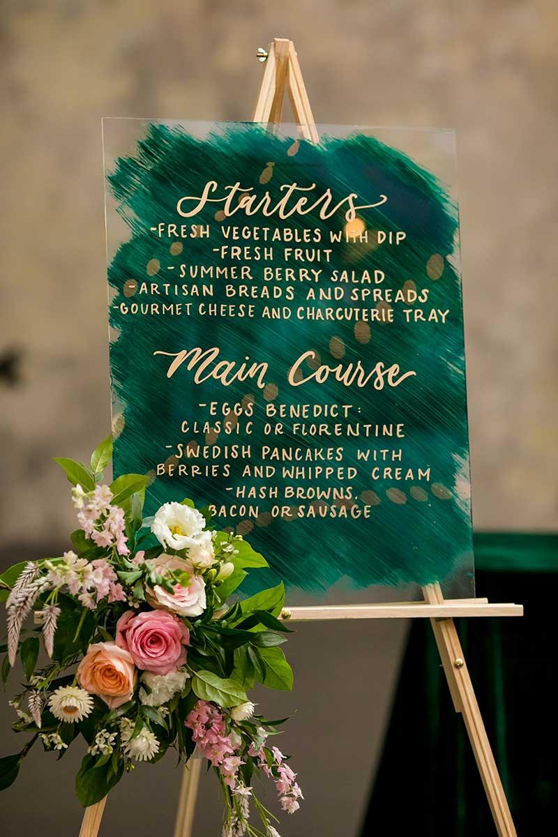 Green and gold wedding brunch menu winter wedding color combos