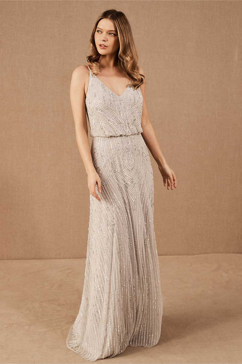 Off-white beaded bridesmaid gown